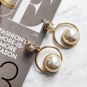 ☆ gold faux pearl hoop earrings ☆